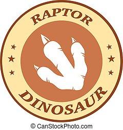 pegada, dinossauro, marrom, círculo