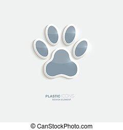 pegada, plástico, símbolo., ícone