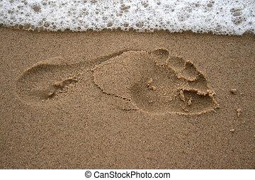 pegada, praia, arenoso