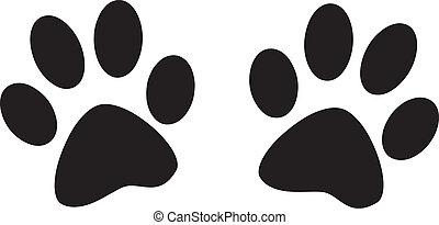 pegadas, cão