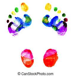 pegadas, de, pés, pintado, em, vário, cores
