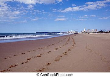 pegadas, em, areia, com, cidade, em, distância