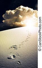 pegadas, em, deserto, areias brancas, novo méxico