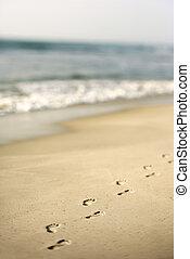 pegadas, em, sand.
