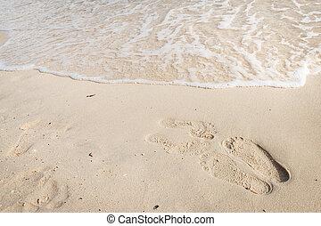 pegadas, praia