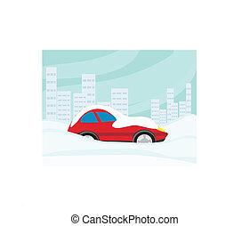 pegado, coche, nieve