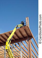 pegado, madera, -, laminado, plataforma