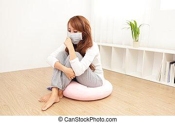 pegado, mulher, gelado, doente, febre