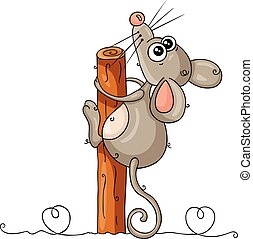 pegajoso, árbol, arriba, divertido, tronco, mirar, ratón
