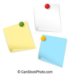 pegajoso, papeles, aislado, blanco, plano de fondo