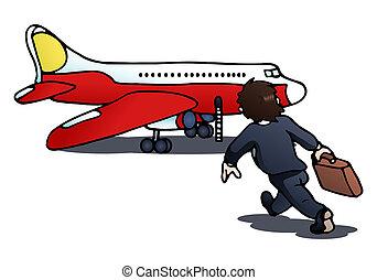 pegando, a, avião, ligado, isolado, branca