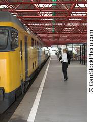 pegando, a, trem