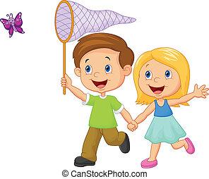 pegando, caricatura, crianças, borboleta