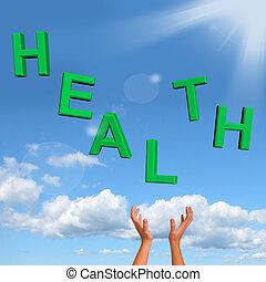 pegando, saúde, palavra, mostrando, um, saudável, condição