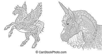 pegasus, 着色, ページ, 一角獣