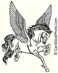 pegasus black and white