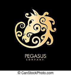 Pegasus company golden horse creative logo design isolated on black