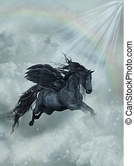 pegasus - Fantasy Landscape with pegasus in the heaven