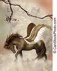 pegasus - brown pegasus in the sky with branches