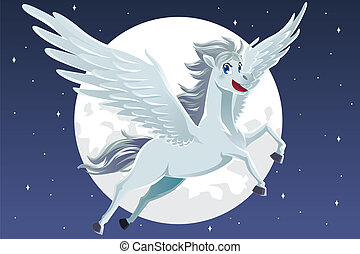 Pegasus - A vector illustration of a flying pegasus