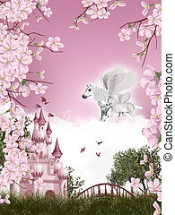 Pegasus fairy tale - Illustration with pegasus family