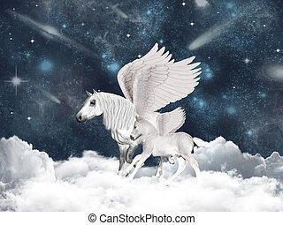 Pegasus family - Illustration with two pegasus