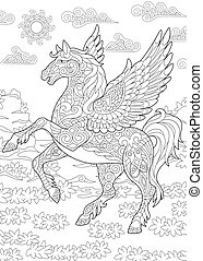Pegasus flying horse - Coloring page for adult colouring...