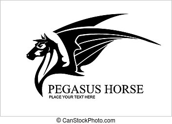 Pegasus Horse Head, in black and wh