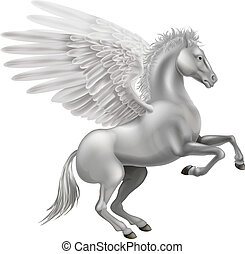 Illustration of the legendary winged horse from Greek mythology, Pegasus