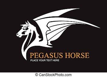 Pegasus Horse White on Black