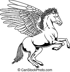 Pegasus illustration - Pegasus horse with wings rearing on...