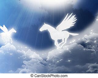 Pegasus - Illustration with two flying pegasus