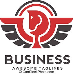 Pegasus logo with curve lines vector. Stylized winged horse...