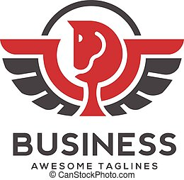 Pegasus logo with curve single line vector. Stylized winged...