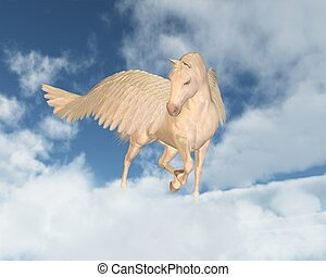 Pegasus Looking Down Through Clouds - Pegasus the Flying...