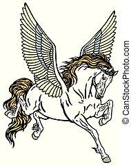pegasus - Pegasus winged divine horse . Tattoo style vector...