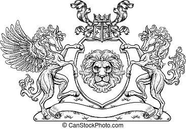 pegasus, scudo, cresta, braccia, sigillo, cappotto, cavallo, leone
