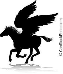 Pegasus Silhouette Mythological Winged Horse - A Pegasus...