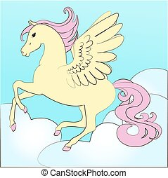 Pegasus, the horse with wings flying in the sky, colored illustration for coloring book fairy