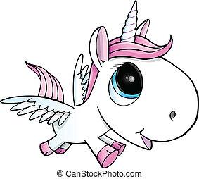 pegasus, vector, ilustración, unicornio