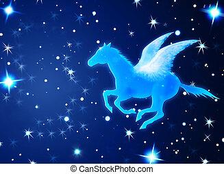 pegasus, vuelo, en, noche