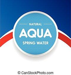pegatina, agua, onda, agua, etiqueta, o