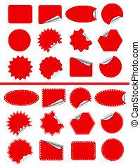 pegatina, aislado, etiqueta, blanco, pegajoso, set., rojo