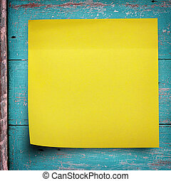 pegatina amarilla, nota papel, en, madera, pared