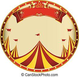 pegatina, amarillo, rojo, circo