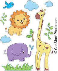 pegatina, animales, diseños, safari