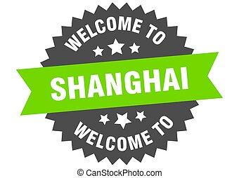 pegatina, bienvenida, signo., shanghai, verde