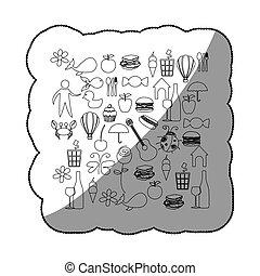 pegatina, bosquejo, contorno, conjunto, elementos, vida diaria, icono