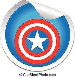 pegatina, capitán, protector, américa