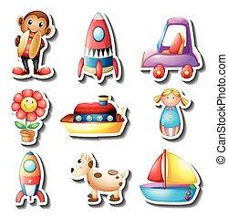 pegatina, conjunto, de, juguetes